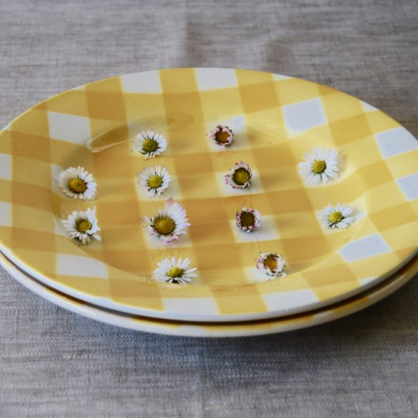 Assiettes Digoin Sarreguemines Ecossais jaune