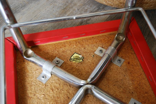 Tabouret vintage skai rouge