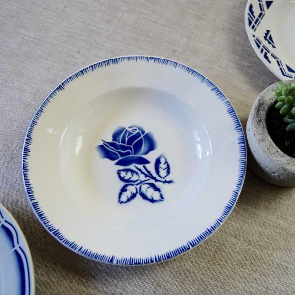 Lot de 3 assiettes dépareillées bleues Digoin Moulin des Loups