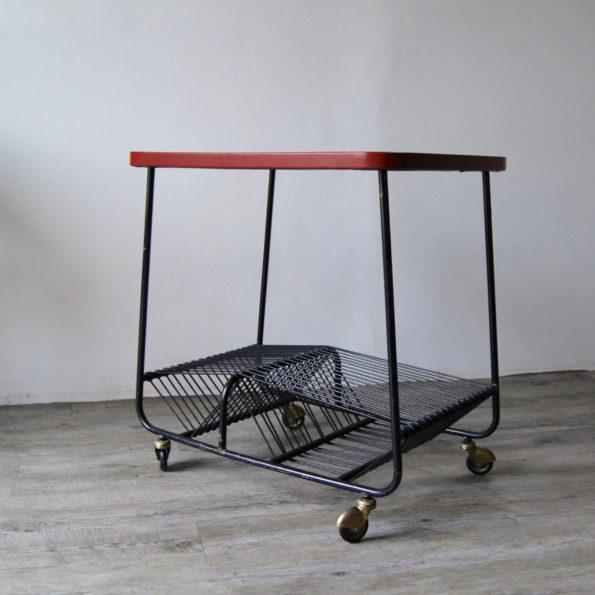 Table porte vinyle vintage à roulettes