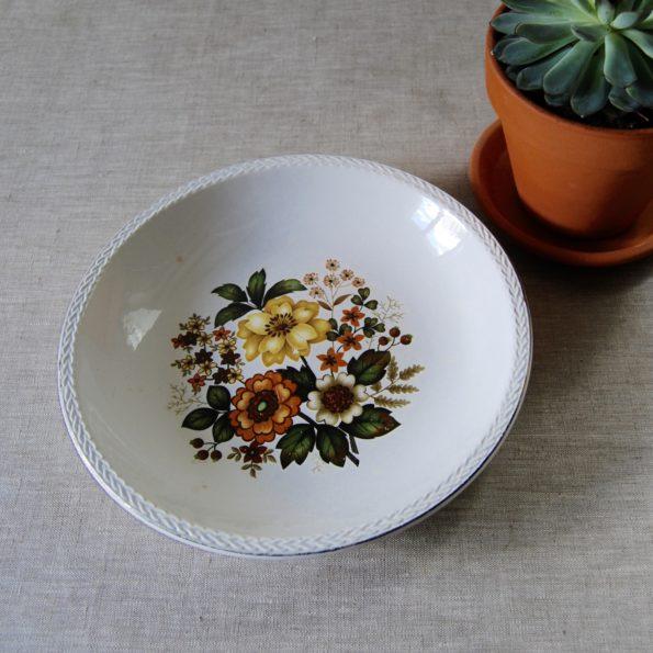 Plat creux motif floral Digoin & Sarreguemines