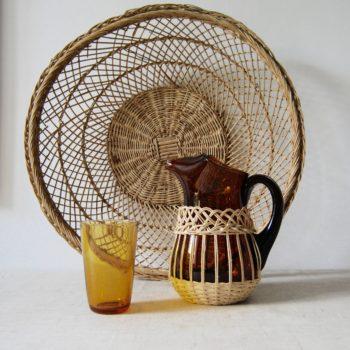 Carafe ambre & osier