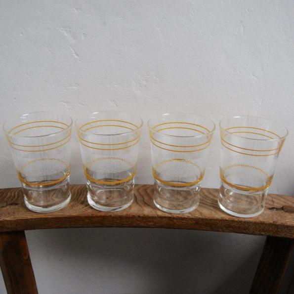 Lot de 4 verres granité blanc jaune bouton d'or