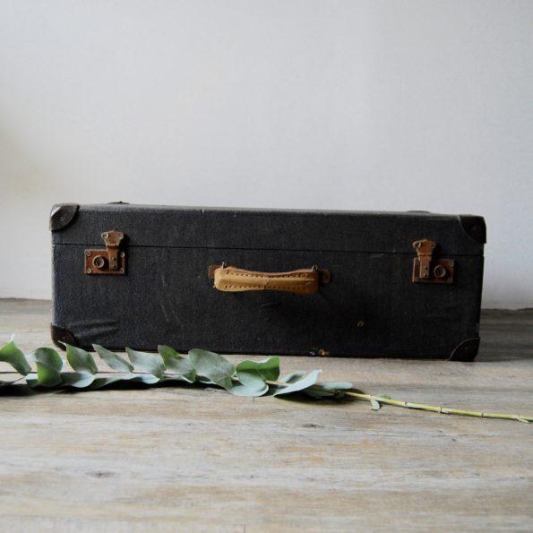 Valise vintage noir intérieur colombes