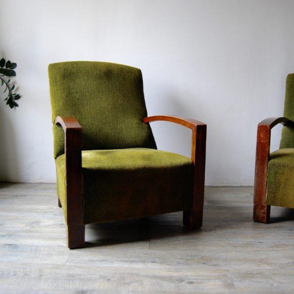 Fauteuil vintage en bois et tissu
