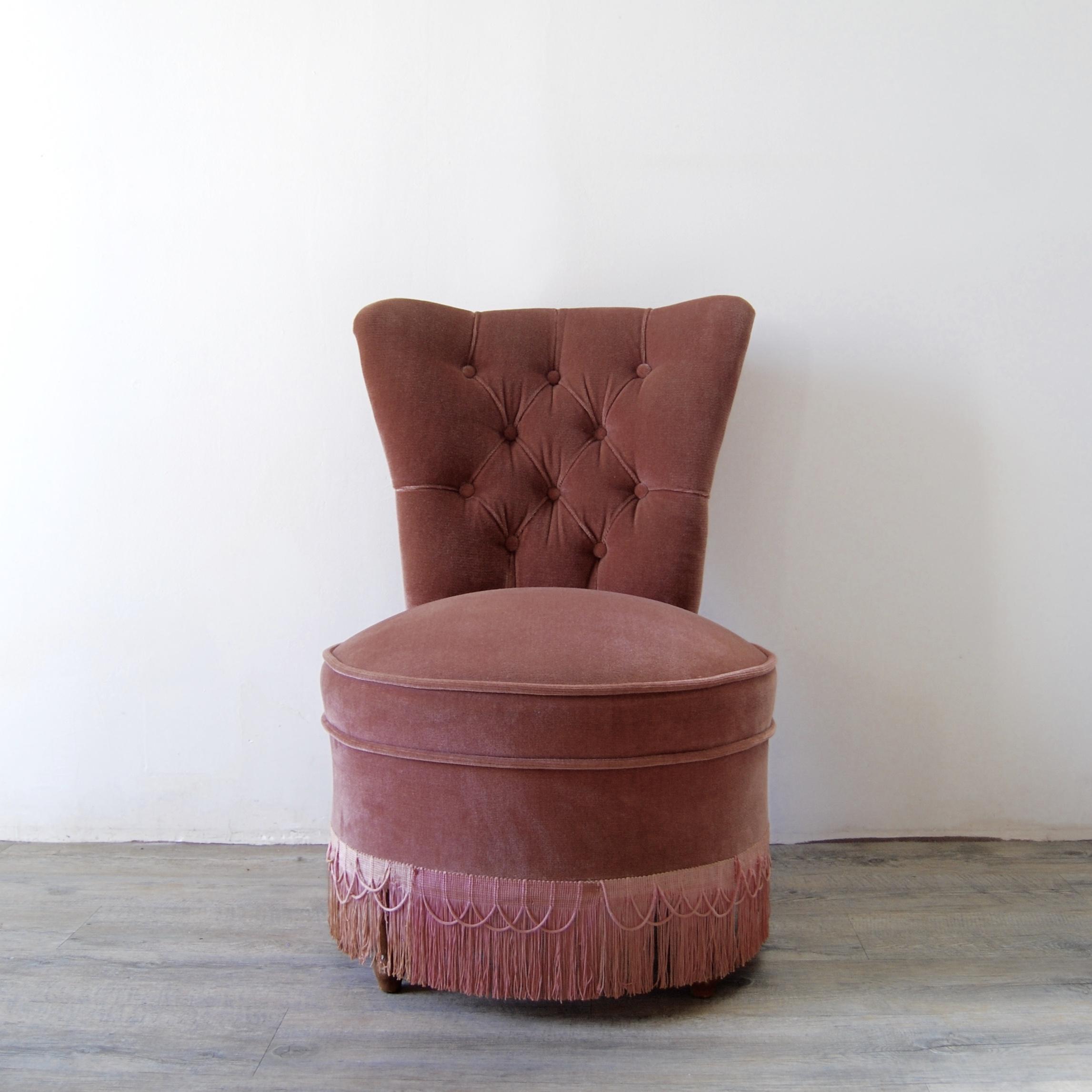 fauteuil crapaud velours rose poudr brocante avenue. Black Bedroom Furniture Sets. Home Design Ideas