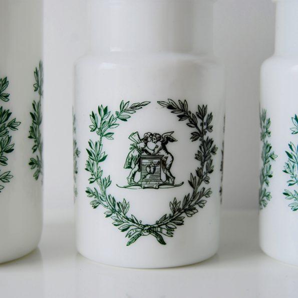 Pots en opale blanc vert