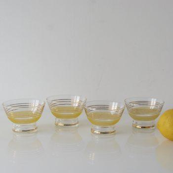 Coupelles en verre granité citron