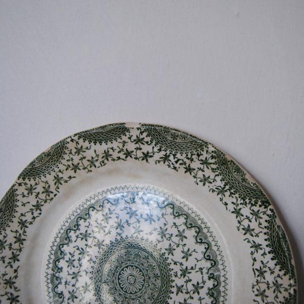 Ancien plat rond rosace mandala