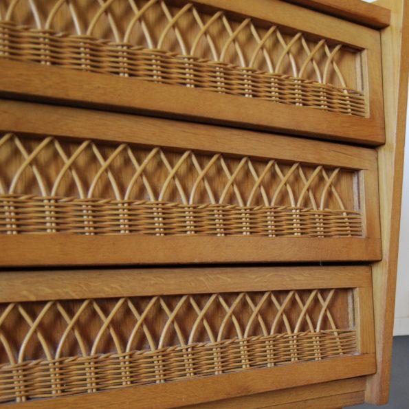 Commode vintage bois et rotin