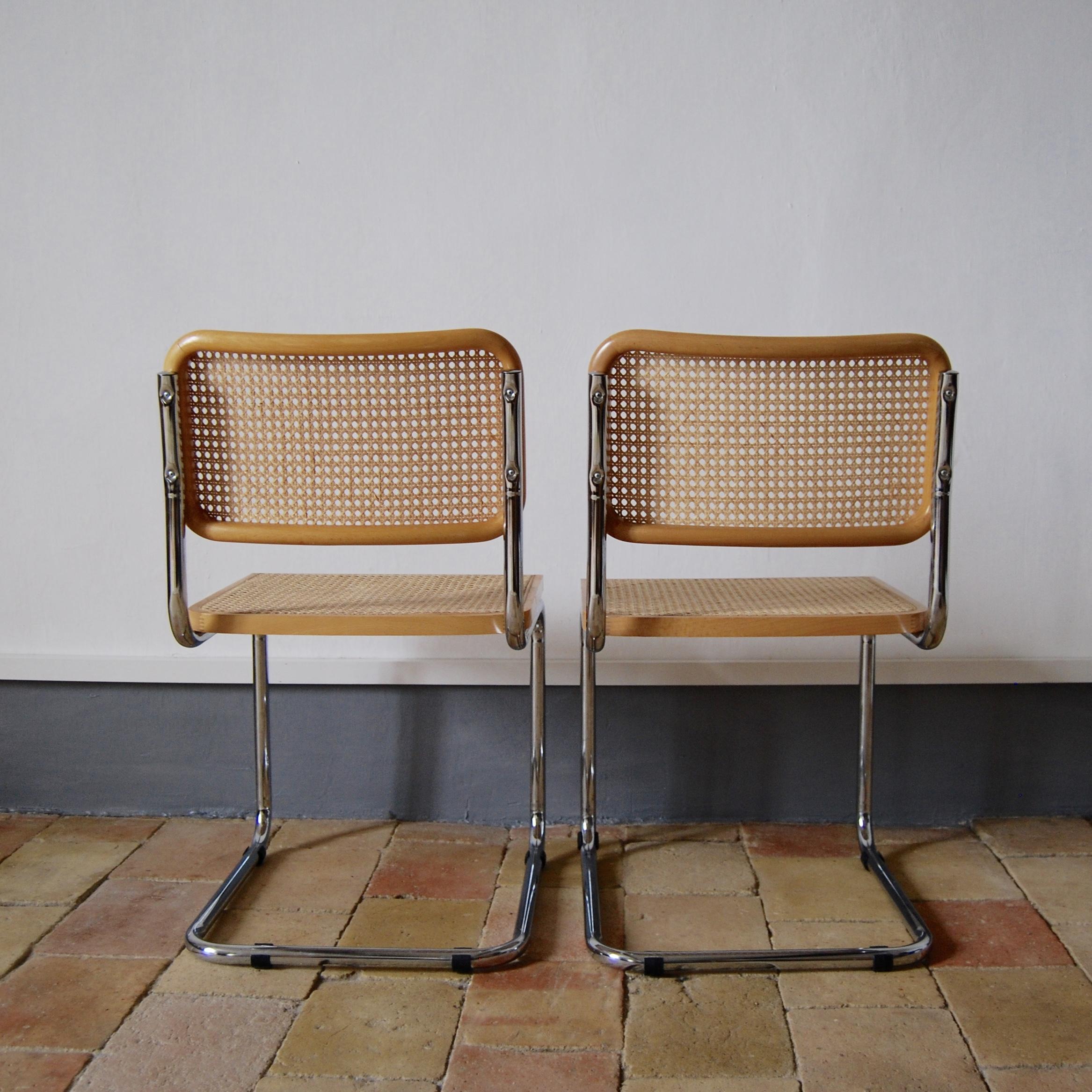 paire de chaises marcel breuer mod le cesca b32 brocante avenue. Black Bedroom Furniture Sets. Home Design Ideas