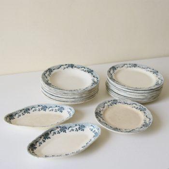 Vaisselle en faïence de FT Badonviller modèle Colbert