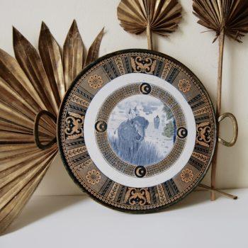 Plateau en céramique et laiton art nouveau déco faïence porcelaine