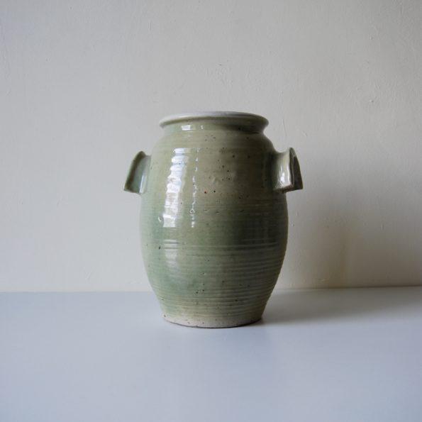 Pot en céramique signé Blouch 1970 grès vermissé vert