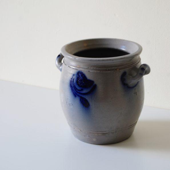 Pot en grès d'Alsace Betschdorf gris décor bleu vernissé XIX siècle