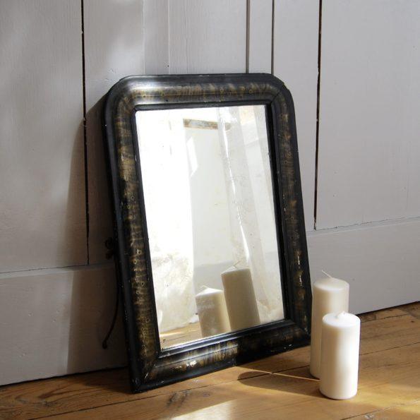 Miroir ancien en bois noir et kaki vintage