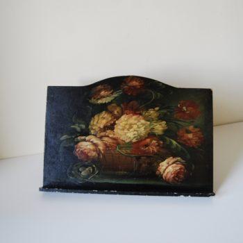 Ancien tableau lutrin en bois peint nature morte