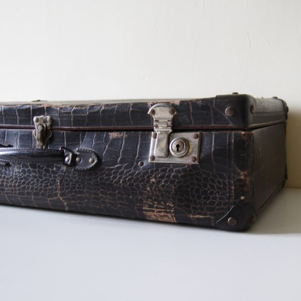 Valise vintage croco marron