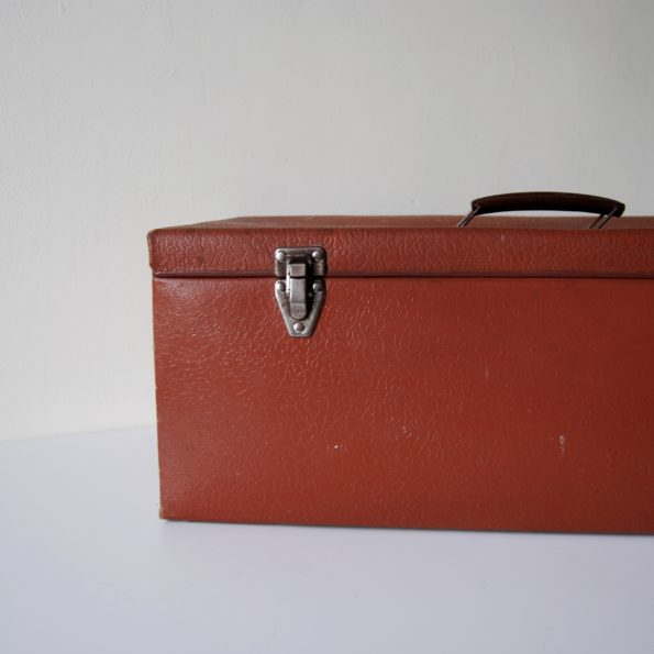 Grande valise vintage orange