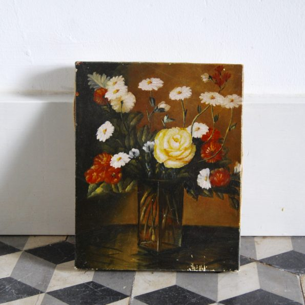 Peinture huile sur toile fleurs