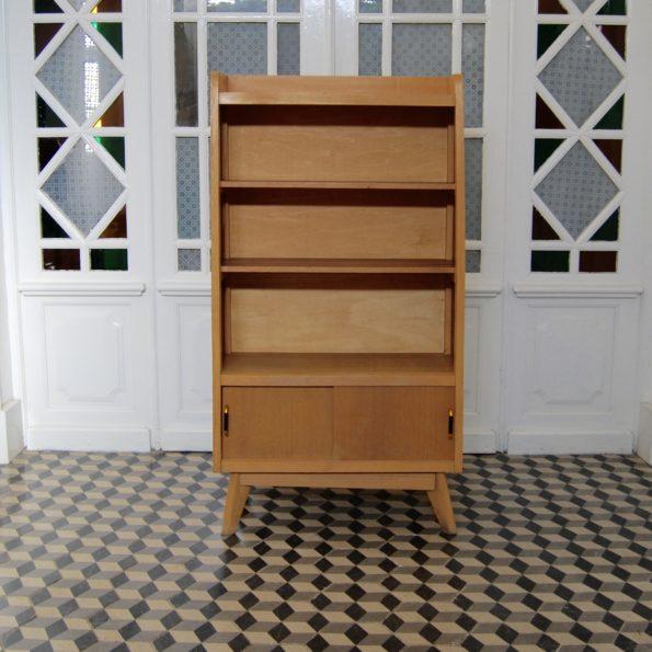 Bibliothèque vintage en bois pieds compas profil aileron