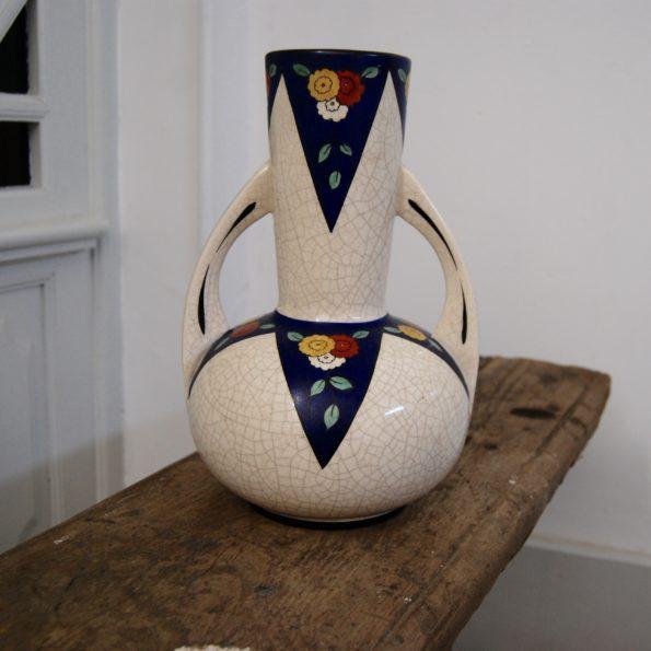 Vase à anses en faïence fond craquelé type Longwy Art Déco
