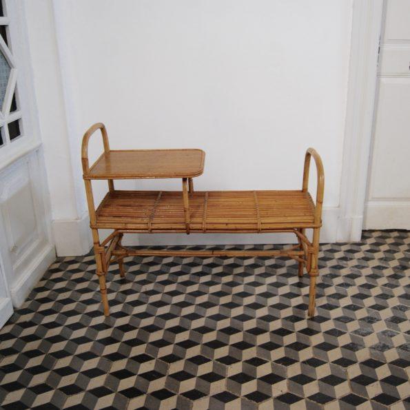 Banc en rotin vintage meuble téléphone table d'appoint