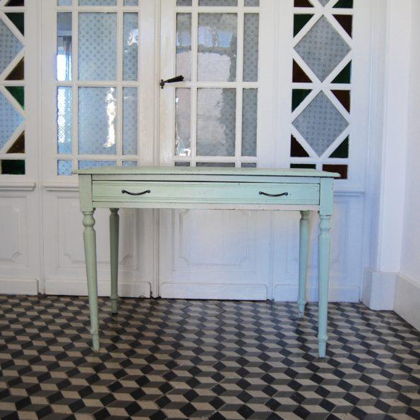 Table bureau vintage vert d'eau en bois couleur mint vert amande