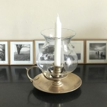 Bougeoir photophore en laiton vintage