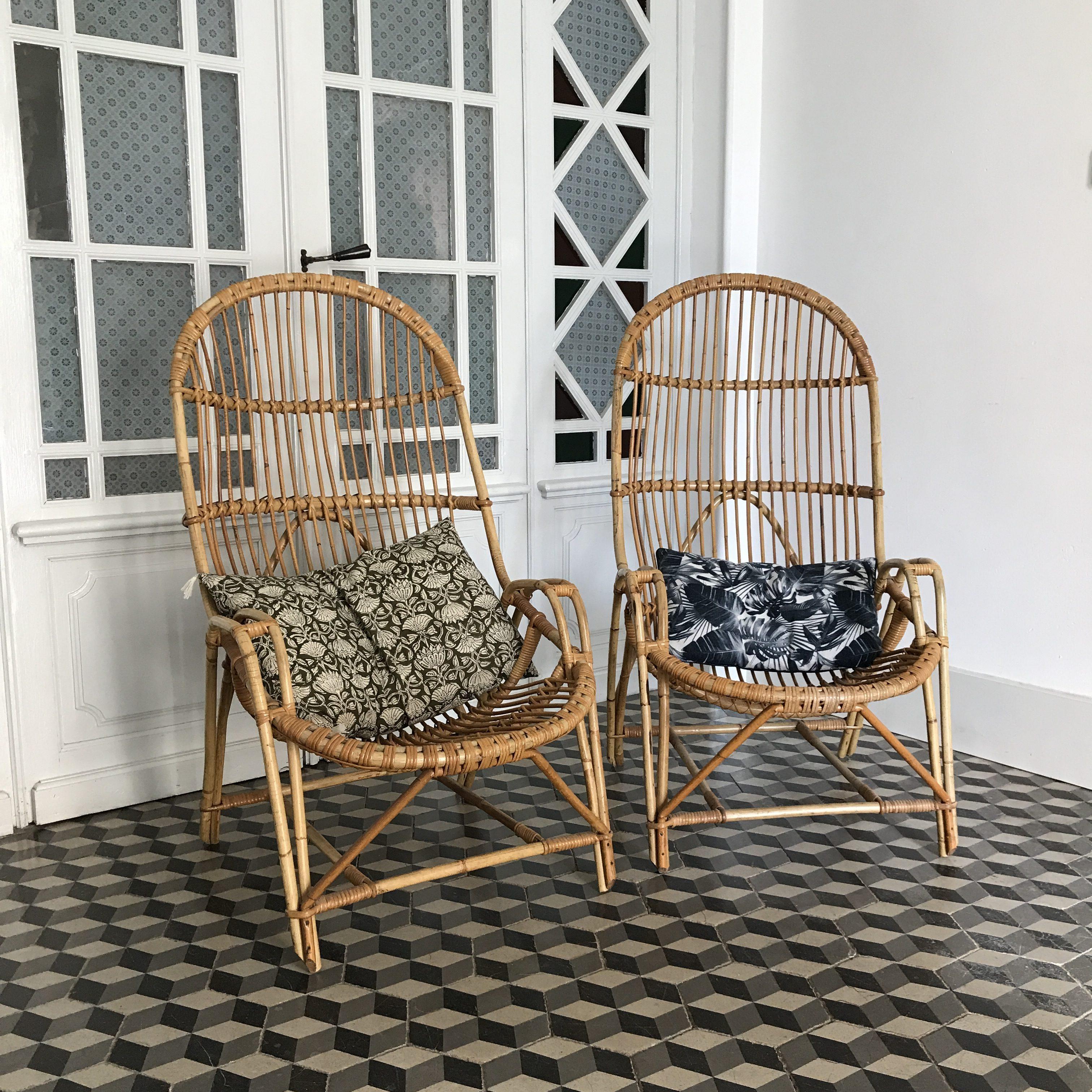 Grand fauteuil en rotin corbeille dossier haut 1960
