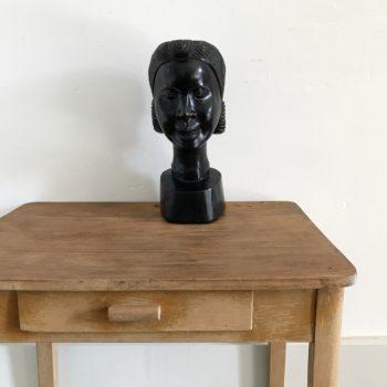 Statue tête femme africaine en bois ébène noir
