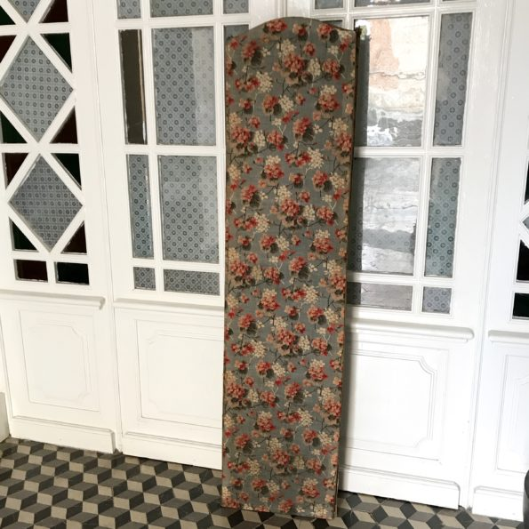 Paravent ancien bois et tissu fleuri vintage