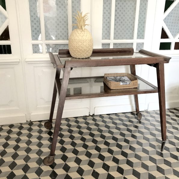 Table à roulettes d'appoint desserte console en bois et verre