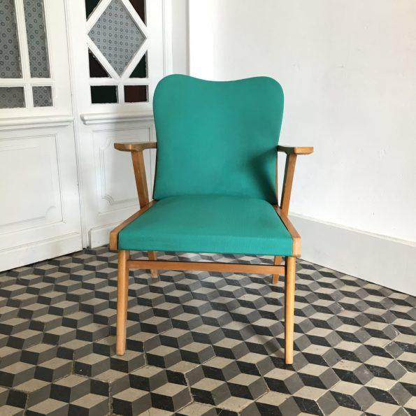 Fauteuils bois et skaï vert vintage scandinave
