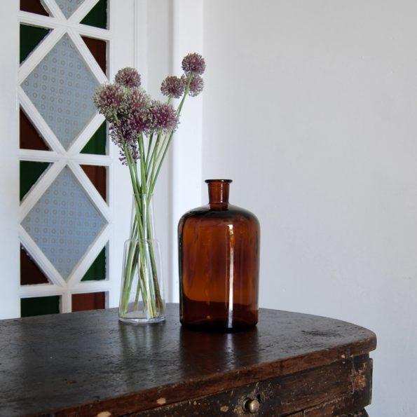 Flacon de pharmacie ambre ancien vintage