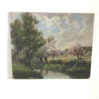 Peinture à l'huile ancienne signée nature au printemps