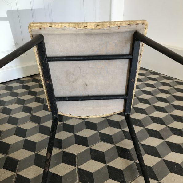 Chaises vintage Colette Gueden en simli cuir jaune paille, structure en métal noir fuselé