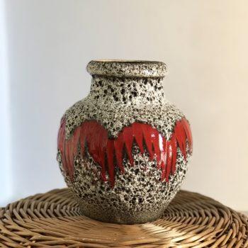 Vase céramique Scheurich W. Germany rouge noir