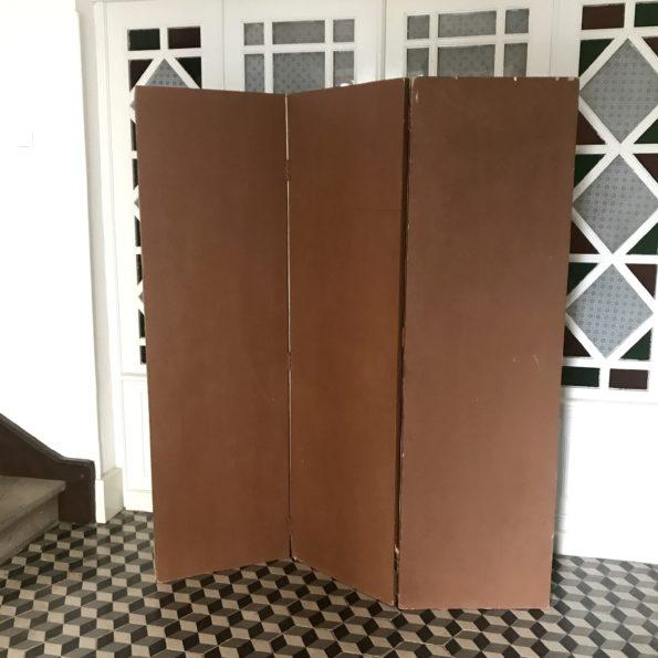 Paravent ancien en bois et tissu 3 pans