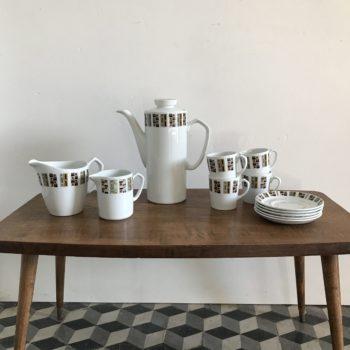 Service à café England art déco motif aléatoire Alfred Meakin Glo-white ironstone