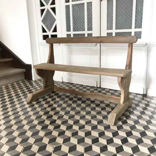 Banc ancien en bois école