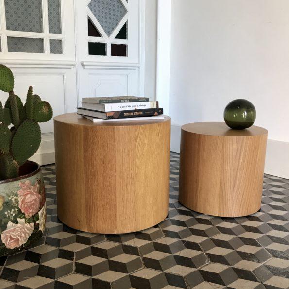 Bout de canapé table basse pouf cylindrique en bois