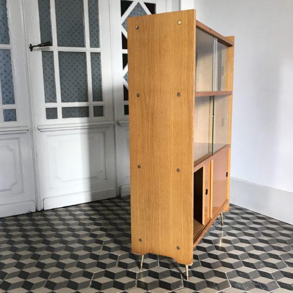 Bibliothèque vitrine vintage pieds compas laiton