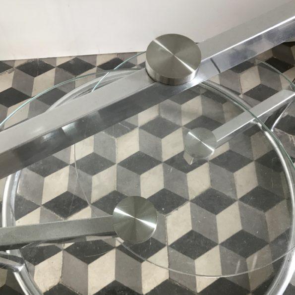 Table en verre pivotante plateaux rotatifs 1970 fly