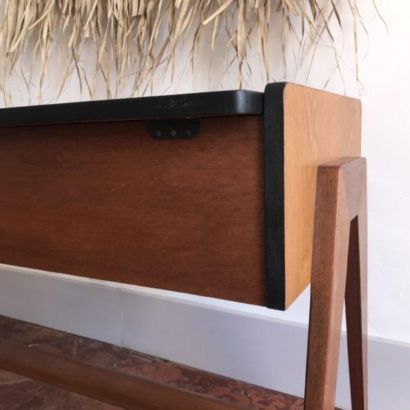 Console bureau vintage pieds trapèze meuble d'appoint Ancien meuble de machine à coudre ou à tricoter Singer
