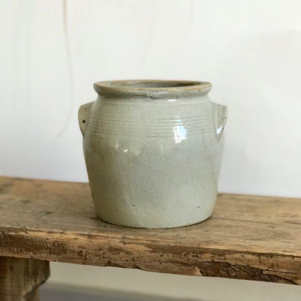 Pot en grès beige clair avec anses vase pot plante fleurs décoration