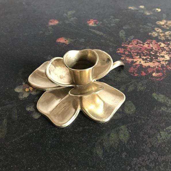 Bougeoir en laiton forme fleur vintage
