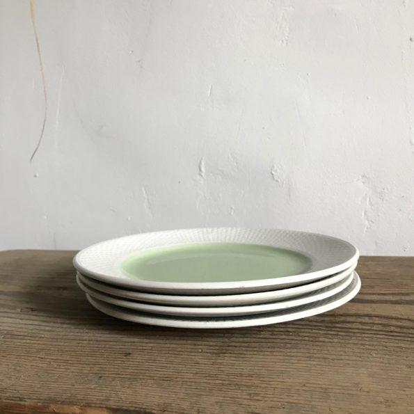 Ensemble de 2 plats de service rond et ovale avec 4 assiettes à dessert marque L'amandinoise modèle Excellence