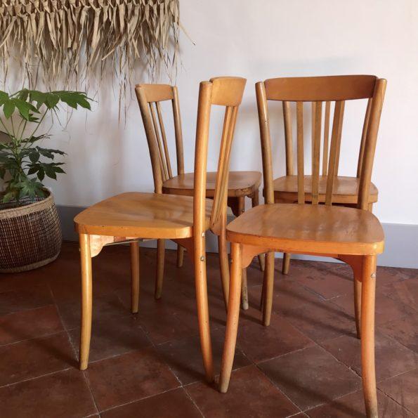 Série de 4 chaises bistrot Luterma monobloc en bois clair années 1950-1960