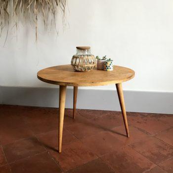 Table basse d'appoint tripode en bois vintage